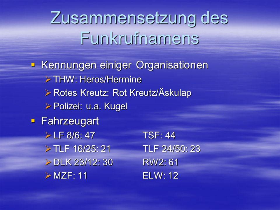 Zusammensetzung des Funkrufnamens Kennungen einiger Organisationen Kennungen einiger Organisationen THW: Heros/Hermine THW: Heros/Hermine Rotes Kreutz