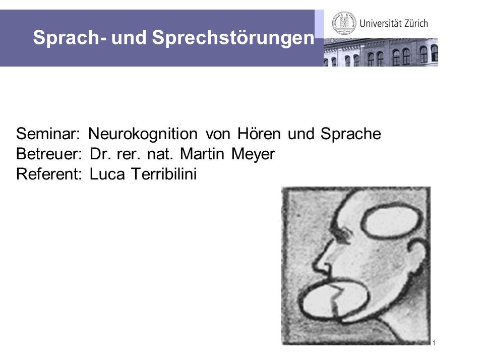 1 Seminar: Neurokognition von Hören und Sprache Betreuer: Dr. rer. nat. Martin Meyer Referent: Luca Terribilini Sprach- und Sprechstörungen