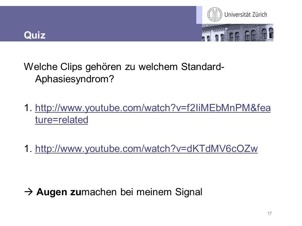 17 Quiz Welche Clips gehören zu welchem Standard- Aphasiesyndrom? 1.http://www.youtube.com/watch?v=f2IiMEbMnPM&fea ture=relatedhttp://www.youtube.com/