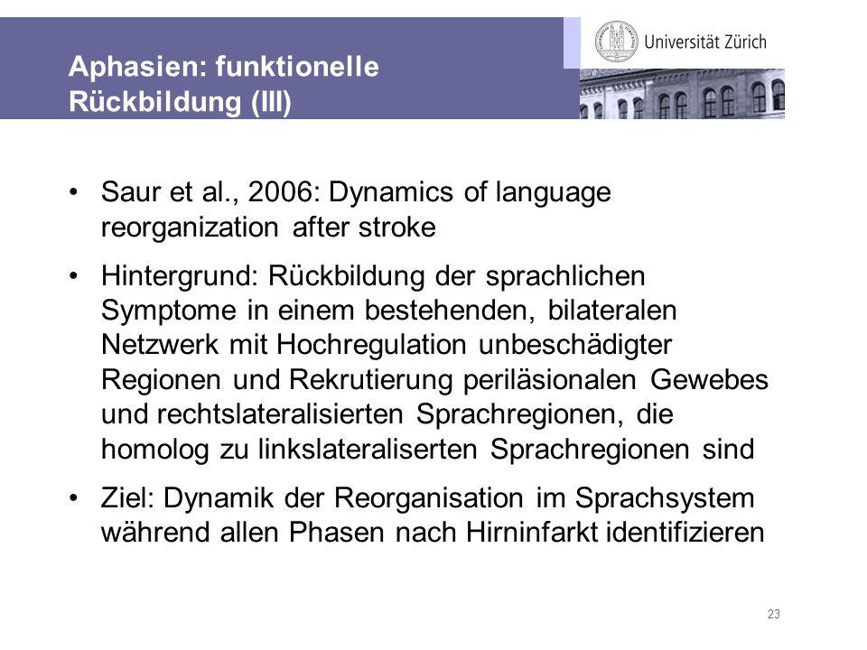 23 Aphasien: funktionelle Rückbildung (III) Saur et al., 2006: Dynamics of language reorganization after stroke Hintergrund: Rückbildung der sprachlic