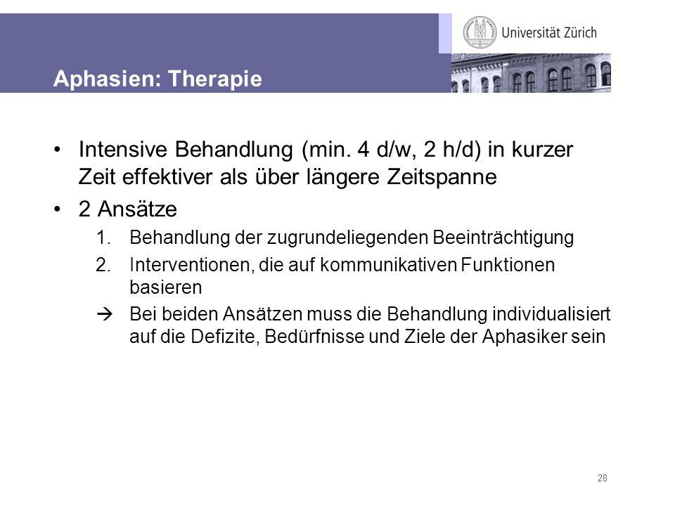 28 Aphasien: Therapie Intensive Behandlung (min. 4 d/w, 2 h/d) in kurzer Zeit effektiver als über längere Zeitspanne 2 Ansätze 1.Behandlung der zugrun