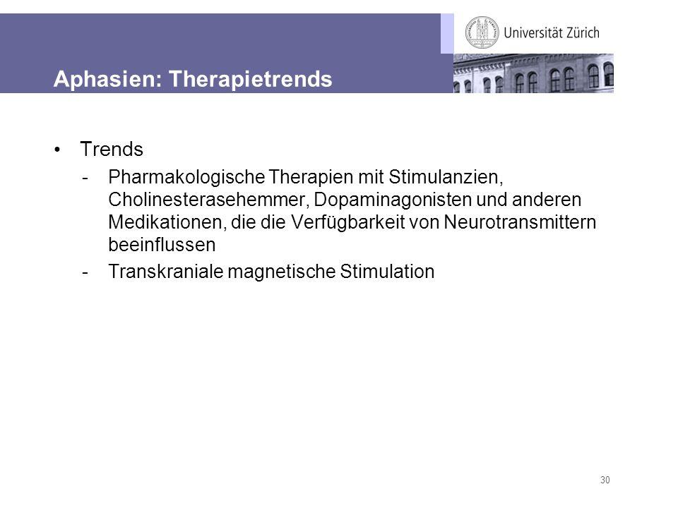 30 Aphasien: Therapietrends Trends -Pharmakologische Therapien mit Stimulanzien, Cholinesterasehemmer, Dopaminagonisten und anderen Medikationen, die