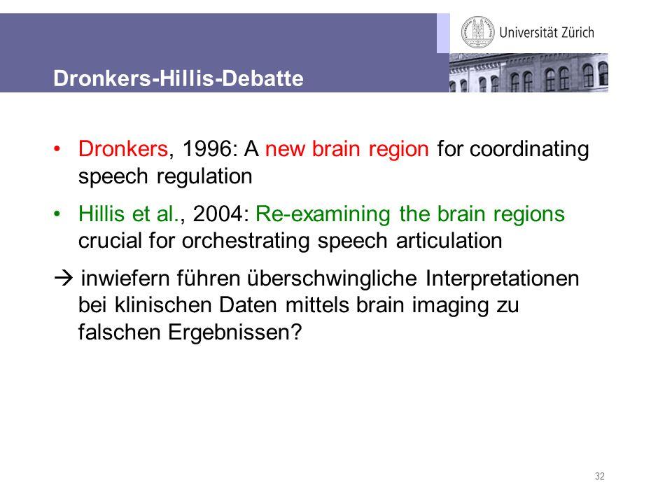 32 Dronkers-Hillis-Debatte Dronkers, 1996: A new brain region for coordinating speech regulation Hillis et al., 2004: Re-examining the brain regions c