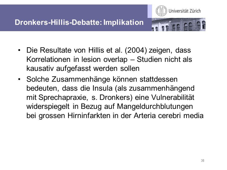 38 Dronkers-Hillis-Debatte: Implikation Die Resultate von Hillis et al. (2004) zeigen, dass Korrelationen in lesion overlap – Studien nicht als kausat