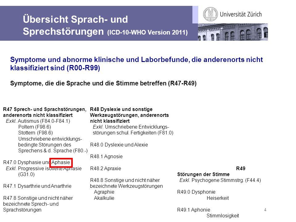 4 Übersicht Sprach- und Sprechstörungen (ICD-10-WHO Version 2011) R47 Sprech- und Sprachstörungen, anderenorts nicht klassifiziert Exkl. Autismus (F84
