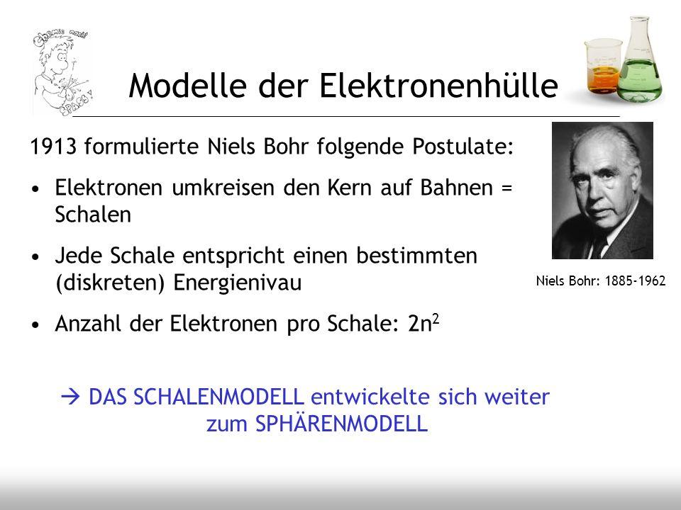 Niels Bohr: 1885-1962 1913 formulierte Niels Bohr folgende Postulate: Elektronen umkreisen den Kern auf Bahnen = Schalen Jede Schale entspricht einen