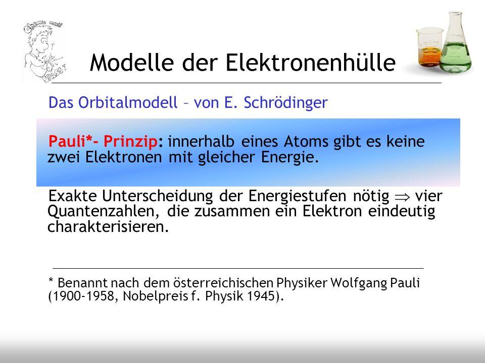 Modelle der Elektronenhülle Das Orbitalmodell – von E. Schrödinger Pauli*- Prinzip: innerhalb eines Atoms gibt es keine zwei Elektronen mit gleicher E