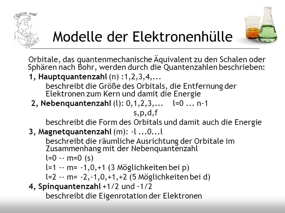 Modelle der Elektronenhülle Orbitale, das quantenmechanische Äquivalent zu den Schalen oder Sphären nach Bohr, werden durch die Quantenzahlen beschrie