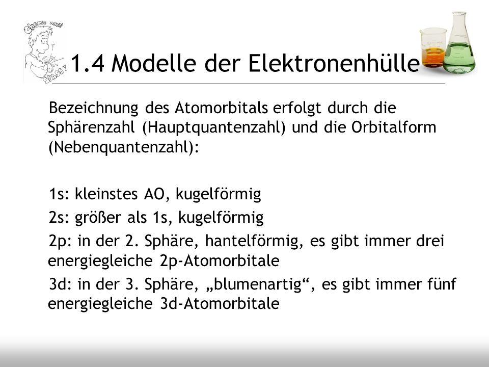 1.4 Modelle der Elektronenhülle Bezeichnung des Atomorbitals erfolgt durch die Sphärenzahl (Hauptquantenzahl) und die Orbitalform (Nebenquantenzahl):