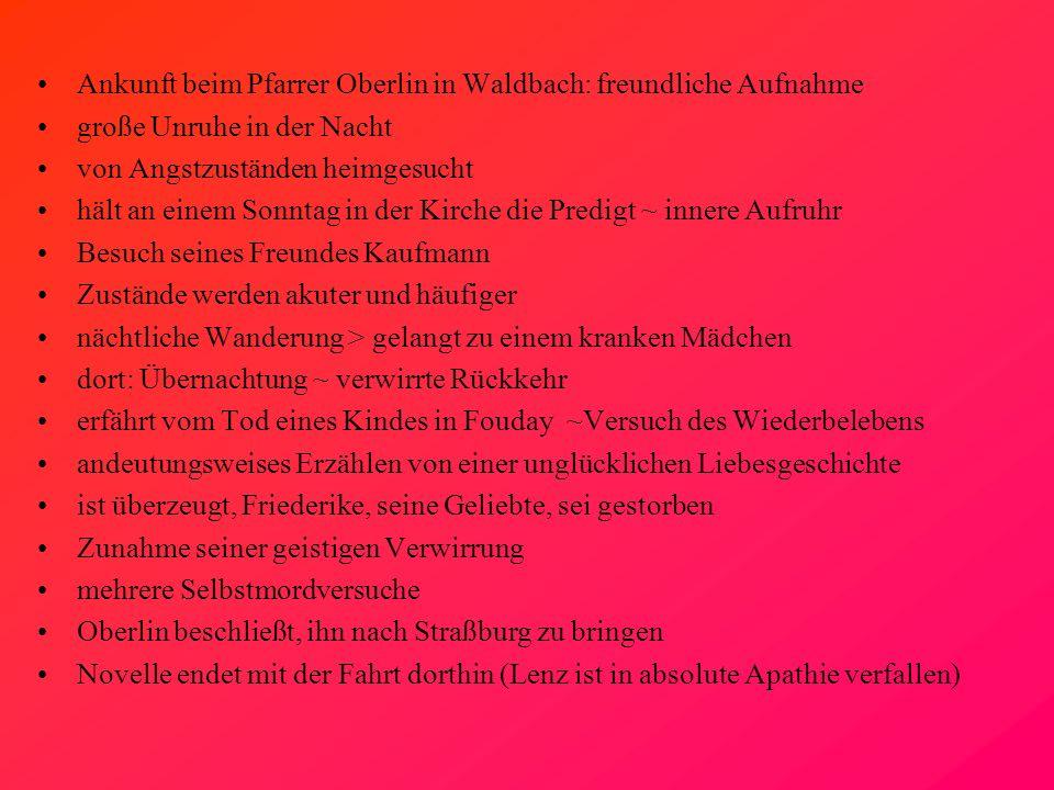 Ankunft beim Pfarrer Oberlin in Waldbach: freundliche Aufnahme große Unruhe in der Nacht von Angstzuständen heimgesucht hält an einem Sonntag in der K