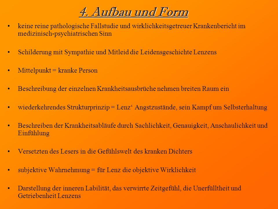 4. Aufbau und Form keine reine pathologische Fallstudie und wirklichkeitsgetreuer Krankenbericht im medizinisch-psychiatrischen Sinn Schilderung mit S