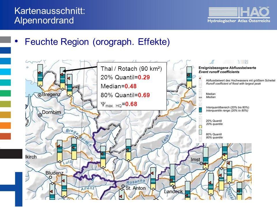 Kartenausschnitt: Kampregion Trockene Region Zwettl / Kamp (620km²) 20% Quantil=0.09 Median=0.17 80% Quantil=0.33 max.