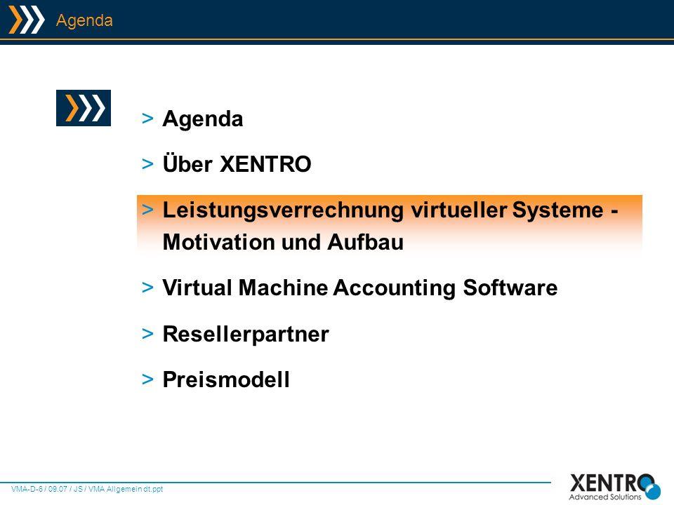 VMA-D-17 / 09.07 / JS / VMA Allgemein dt.ppt Virtual Machine Accounting - Screens