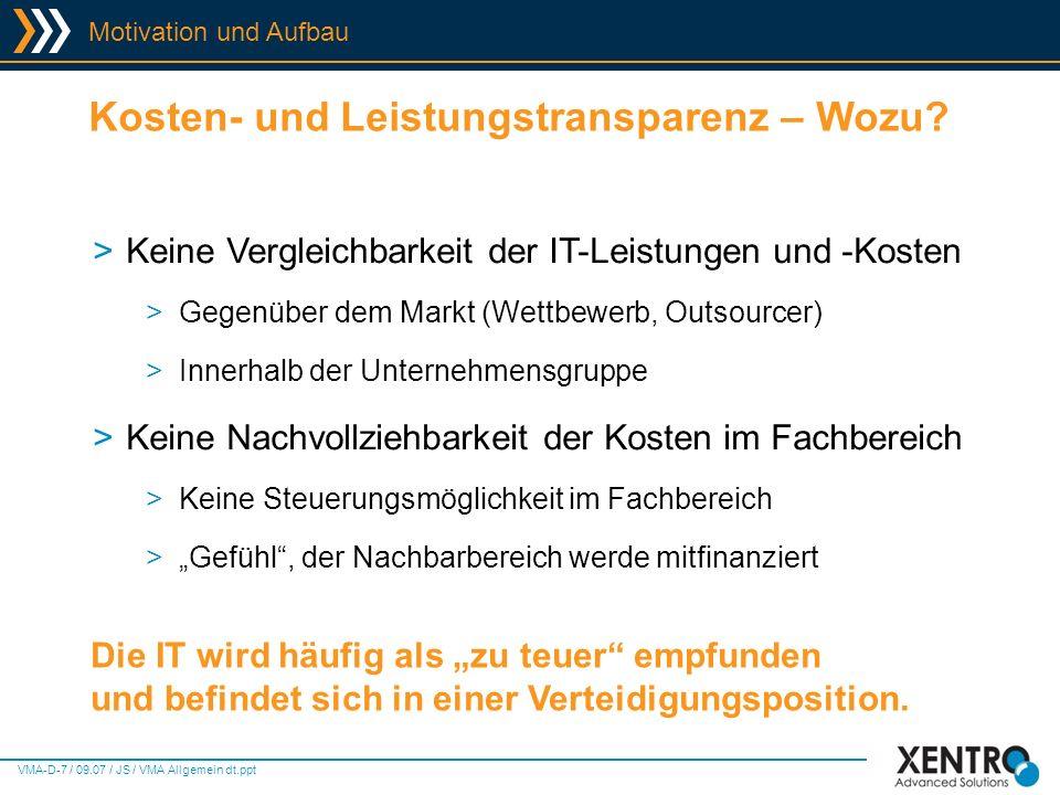 VMA-D-18 / 09.07 / JS / VMA Allgemein dt.ppt Virtual Machine Accounting - Screens Kostenarten >Dediziert pro Host >Spez.