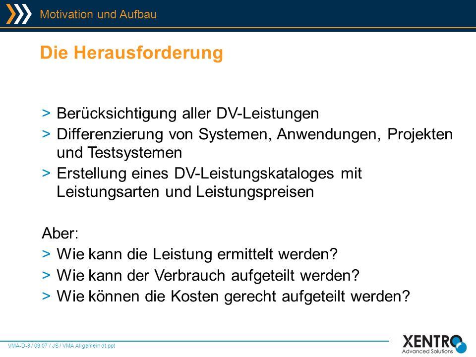 VMA-D-19 / 09.07 / JS / VMA Allgemein dt.ppt Virtual Machine Accounting - Screens