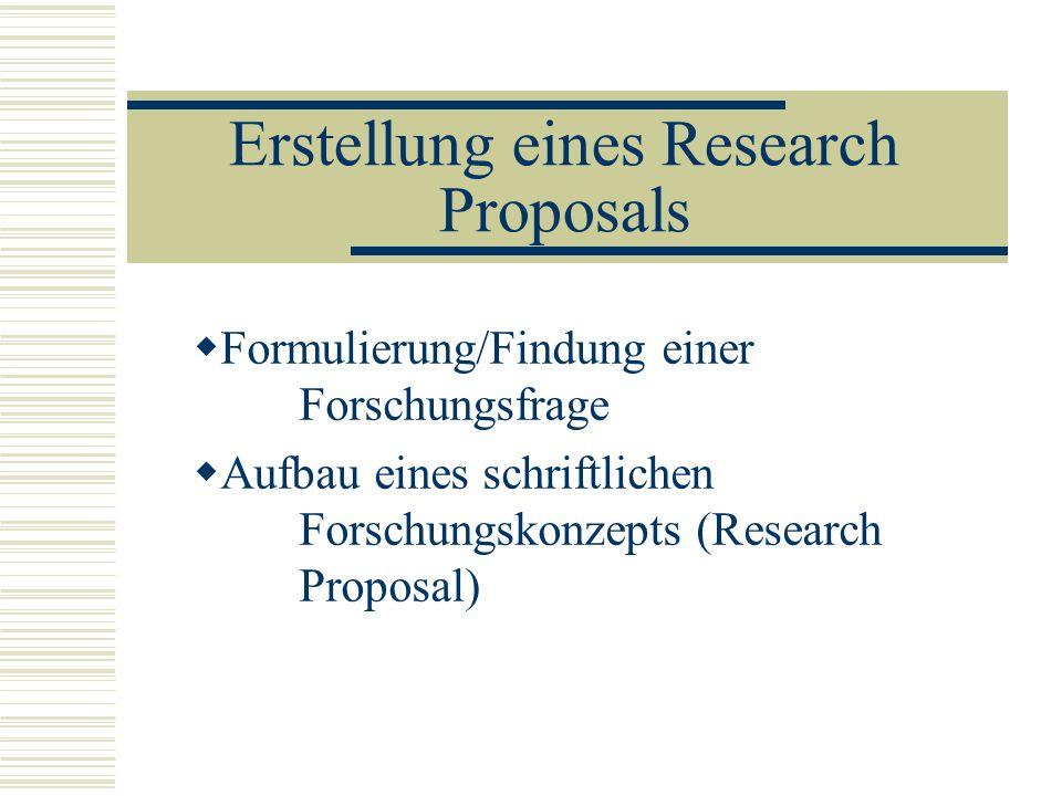 Erstellung eines Research Proposals Formulierung/Findung einer Forschungsfrage Aufbau eines schriftlichen Forschungskonzepts (Research Proposal)