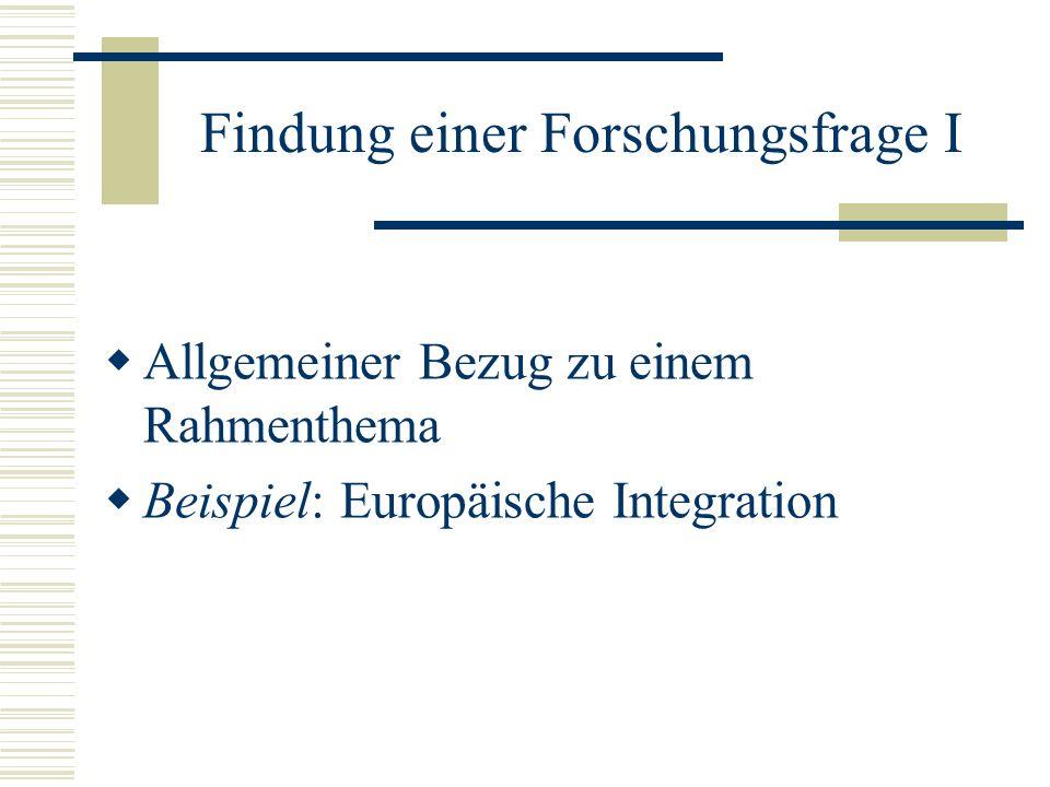 Findung einer Forschungsfrage I Allgemeiner Bezug zu einem Rahmenthema Beispiel: Europäische Integration