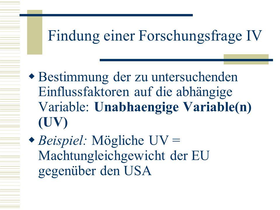 Findung einer Forschungsfrage IV Bestimmung der zu untersuchenden Einflussfaktoren auf die abhängige Variable: Unabhaengige Variable(n) (UV) Beispiel: