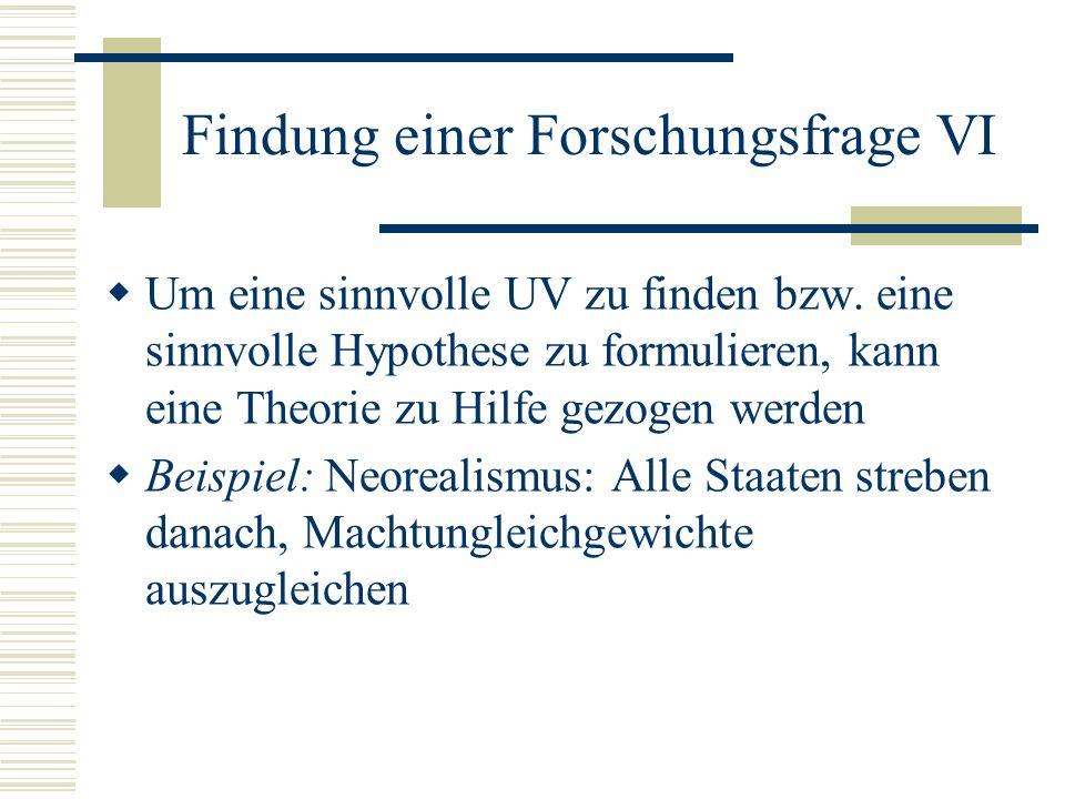 Findung einer Forschungsfrage VI Um eine sinnvolle UV zu finden bzw. eine sinnvolle Hypothese zu formulieren, kann eine Theorie zu Hilfe gezogen werde