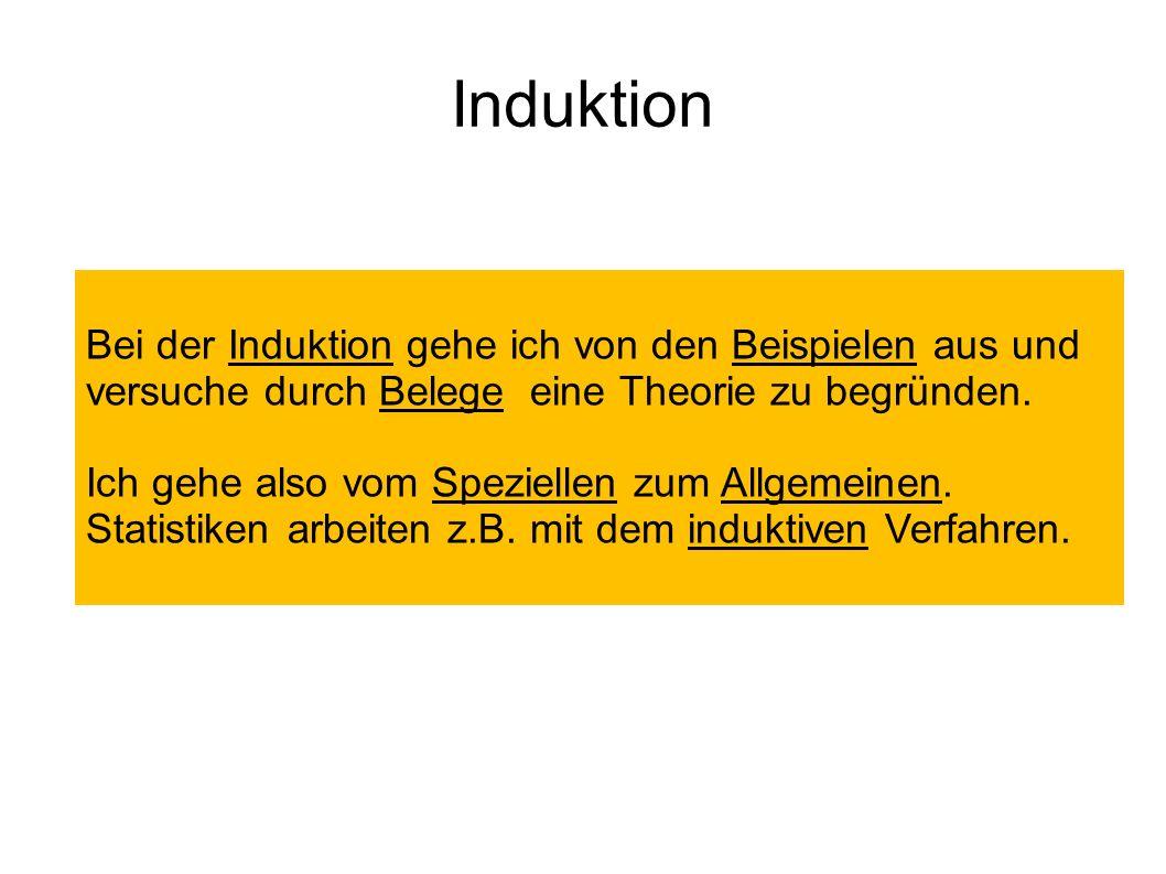 Induktion Bei der Induktion gehe ich von den Beispielen aus und versuche durch Belege eine Theorie zu begründen. Ich gehe also vom Speziellen zum Allg