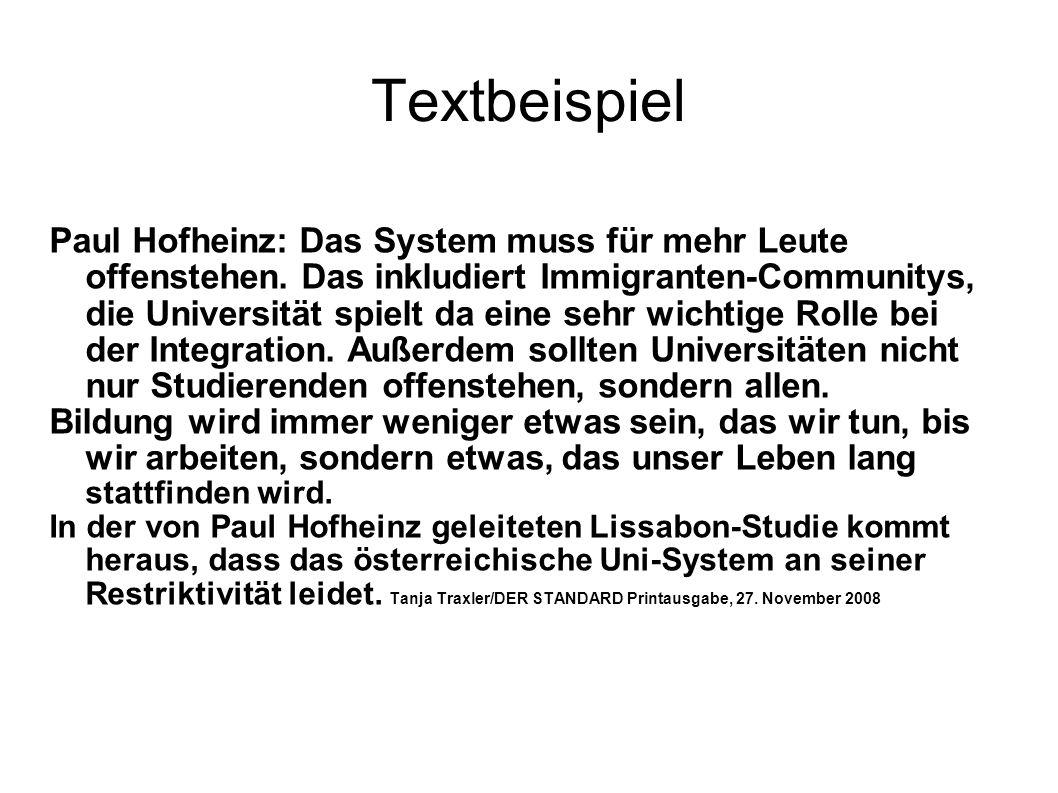 Textbeispiel Paul Hofheinz: Das System muss für mehr Leute offenstehen. Das inkludiert Immigranten-Communitys, die Universität spielt da eine sehr wic