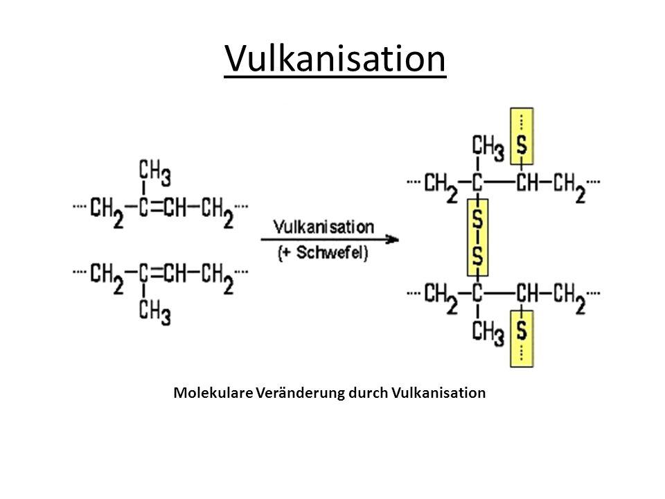 Eigenschaften von Kautschuk Die Eigenschaften von Kautschuk ändern sich durch die Vulkanisation erheblich.