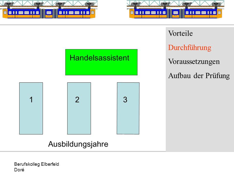 Berufskolleg Elberfeld Doré Vorteile Durchführung Voraussetzungen Aufbau der Prüfung 123 Handelsassistent Ausbildungsjahre