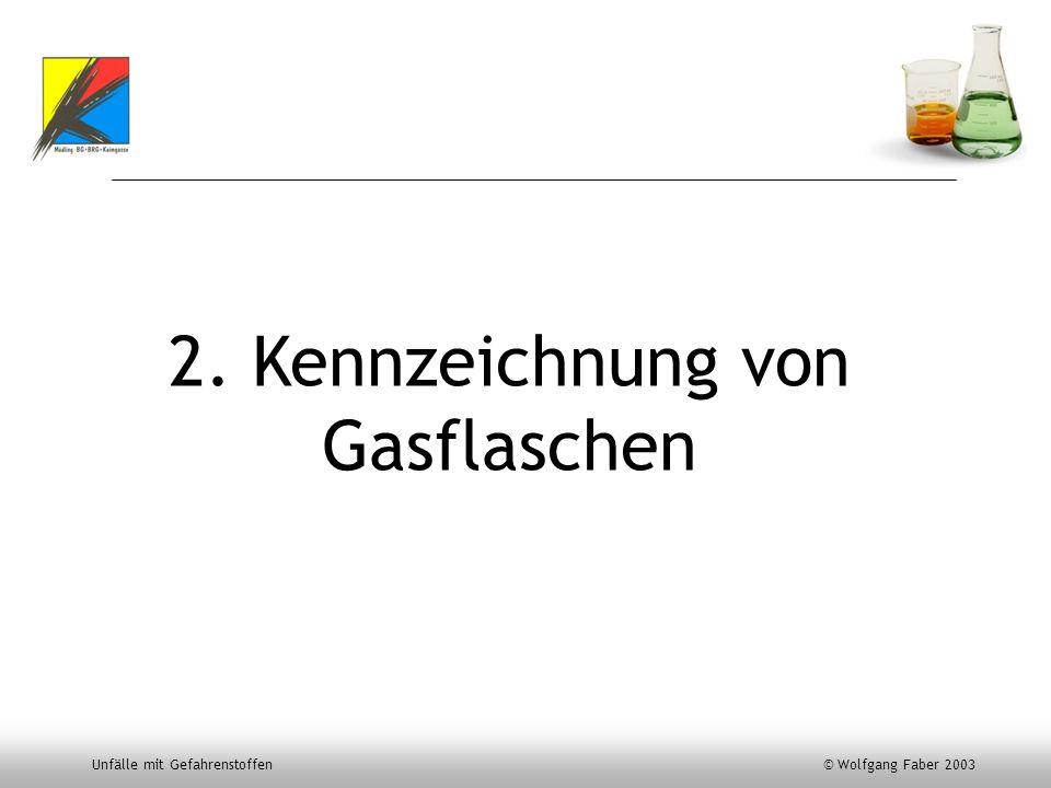 Unfälle mit Gefahrenstoffen © Wolfgang Faber 2003 2. Kennzeichnung von Gasflaschen