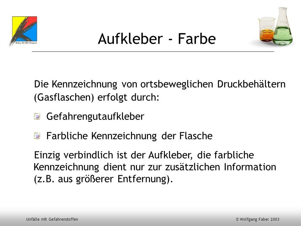 Unfälle mit Gefahrenstoffen © Wolfgang Faber 2003 Aufkleber - Farbe Die Kennzeichnung von ortsbeweglichen Druckbehältern (Gasflaschen) erfolgt durch: