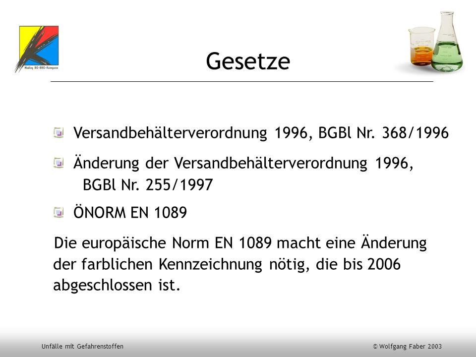 Unfälle mit Gefahrenstoffen © Wolfgang Faber 2003 Gesetze Versandbehälterverordnung 1996, BGBl Nr. 368/1996 Änderung der Versandbehälterverordnung 199