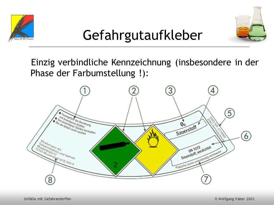 Unfälle mit Gefahrenstoffen © Wolfgang Faber 2003 Gefahrgutaufkleber Einzig verbindliche Kennzeichnung (insbesondere in der Phase der Farbumstellung !