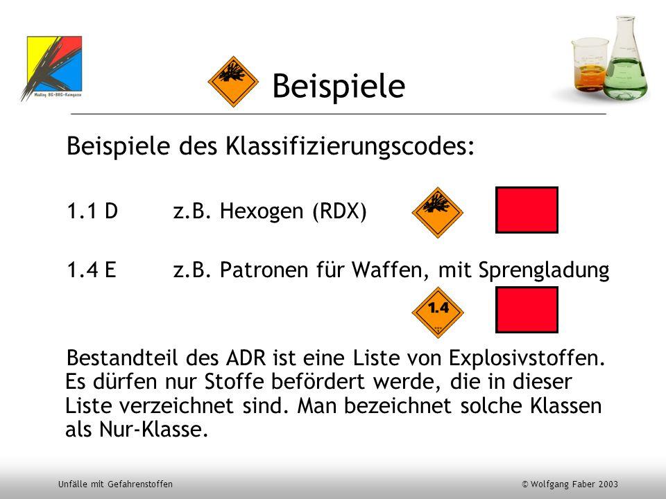 Unfälle mit Gefahrenstoffen © Wolfgang Faber 2003 Beispiele Beispiele des Klassifizierungscodes: 1.1 Dz.B. Hexogen (RDX) 1.4 Ez.B. Patronen für Waffen