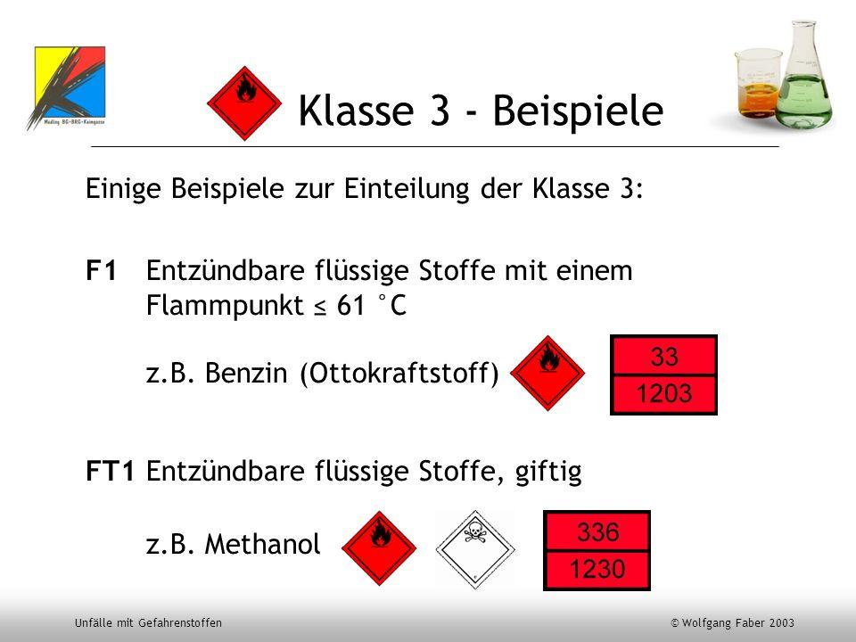 Unfälle mit Gefahrenstoffen © Wolfgang Faber 2003 Klasse 3 - Beispiele Einige Beispiele zur Einteilung der Klasse 3: F1 Entzündbare flüssige Stoffe mi
