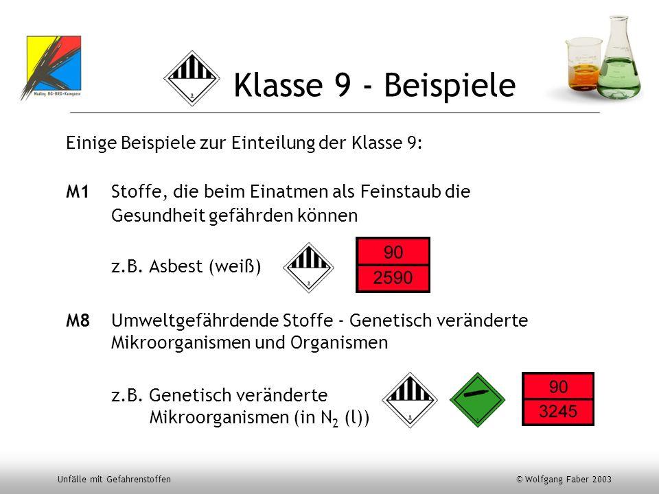 Unfälle mit Gefahrenstoffen © Wolfgang Faber 2003 Klasse 9 - Beispiele Einige Beispiele zur Einteilung der Klasse 9: M1 Stoffe, die beim Einatmen als