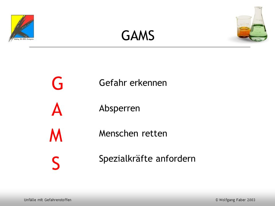 Unfälle mit Gefahrenstoffen © Wolfgang Faber 2003 Gefahr erkennen Absperren Menschen retten Spezialkräfte anfordern GAMS G A M S