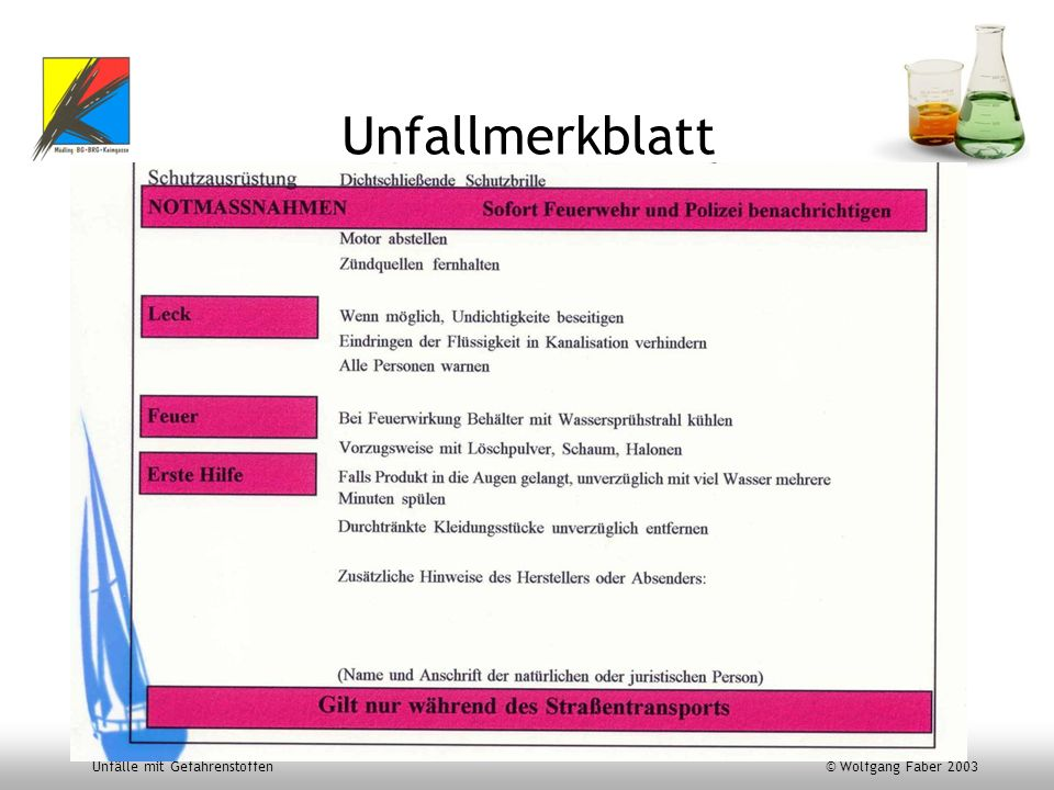 Unfälle mit Gefahrenstoffen © Wolfgang Faber 2003 Unfallmerkblatt