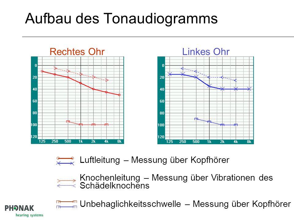 Das Audiogrammformular Schallpegel dB Frequenz kHz