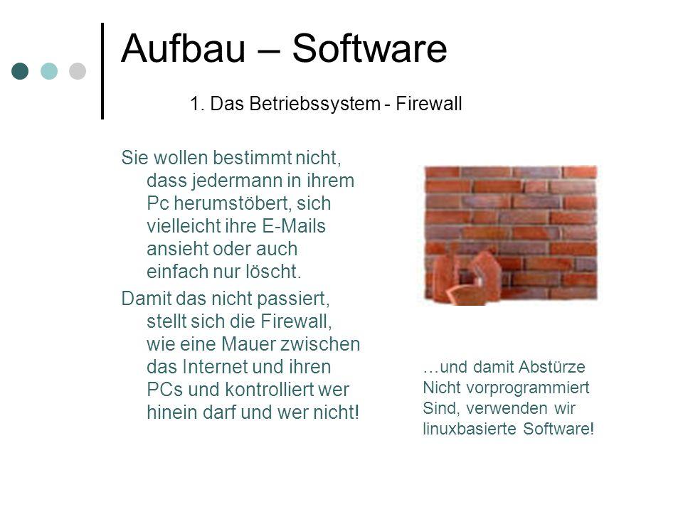 Aufbau – Software 1. Das Betriebssystem - Firewall Sie wollen bestimmt nicht, dass jedermann in ihrem Pc herumstöbert, sich vielleicht ihre E-Mails an