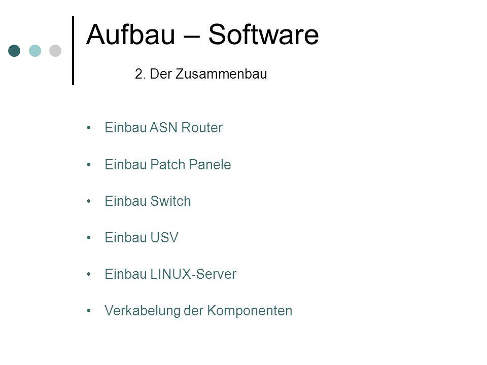 Aufbau – Software 2. Der Zusammenbau Einbau ASN Router Einbau Patch Panele Einbau Switch Einbau USV Einbau LINUX-Server Verkabelung der Komponenten