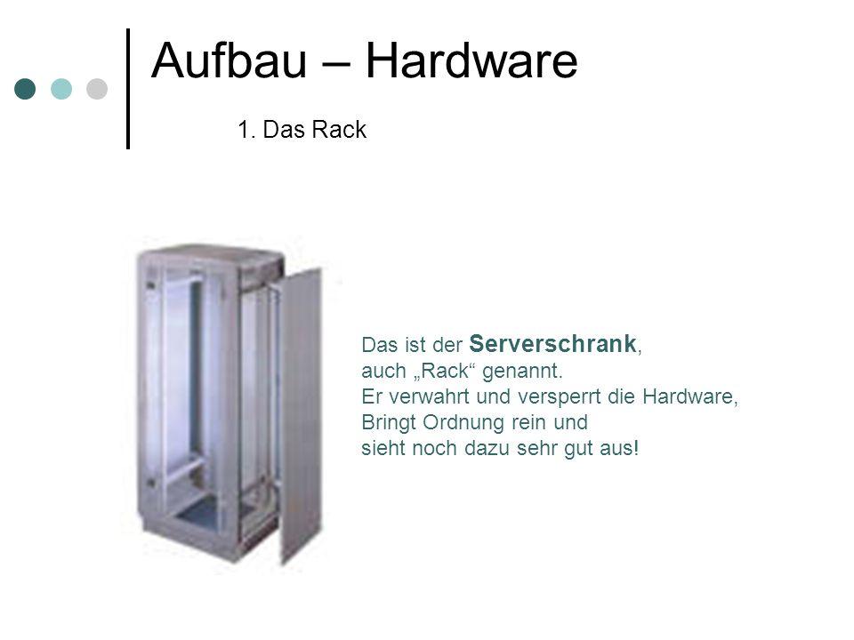 Aufbau – Hardware 1. Das Rack Das ist der Serverschrank, auch Rack genannt. Er verwahrt und versperrt die Hardware, Bringt Ordnung rein und sieht noch