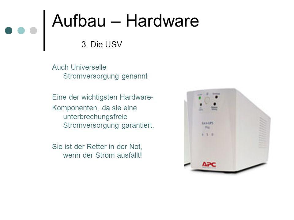 Aufbau – Hardware 3. Die USV Auch Universelle Stromversorgung genannt Eine der wichtigsten Hardware- Komponenten, da sie eine unterbrechungsfreie Stro