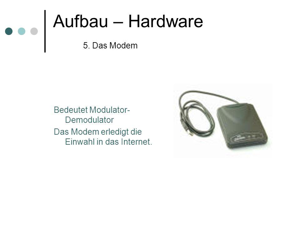 Aufbau – Hardware 5. Das Modem Bedeutet Modulator- Demodulator Das Modem erledigt die Einwahl in das Internet.