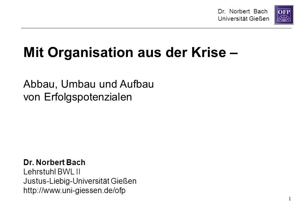Dr. Norbert Bach Universität Gießen 1 Mit Organisation aus der Krise – Abbau, Umbau und Aufbau von Erfolgspotenzialen Dr. Norbert Bach Lehrstuhl BWL I