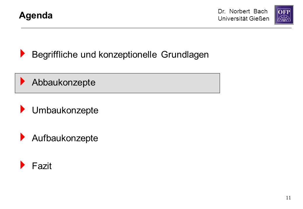 Dr. Norbert Bach Universität Gießen 11 Agenda Begriffliche und konzeptionelle Grundlagen Abbaukonzepte Umbaukonzepte Aufbaukonzepte Fazit
