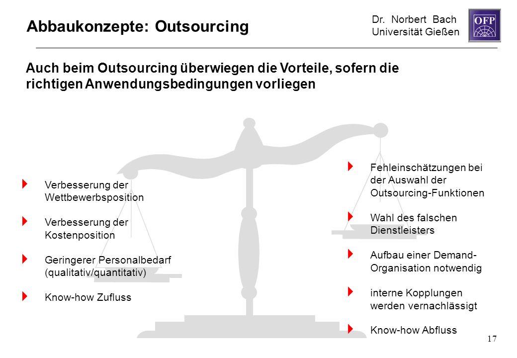 Dr. Norbert Bach Universität Gießen 17 Abbaukonzepte: Outsourcing Auch beim Outsourcing überwiegen die Vorteile, sofern die richtigen Anwendungsbeding