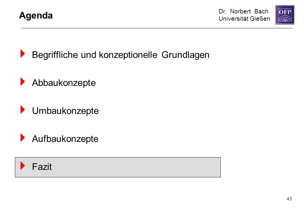 Dr. Norbert Bach Universität Gießen 43 Agenda Begriffliche und konzeptionelle Grundlagen Abbaukonzepte Umbaukonzepte Aufbaukonzepte Fazit