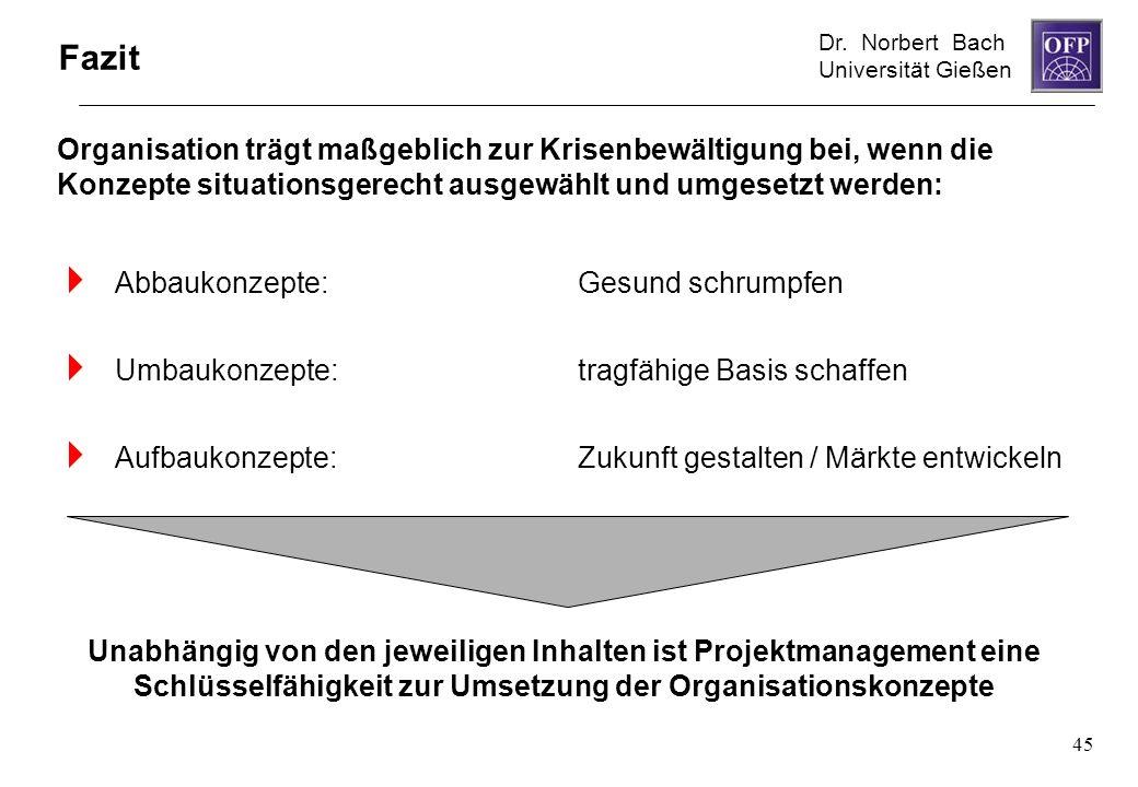Dr. Norbert Bach Universität Gießen 45 Fazit Abbaukonzepte:Gesund schrumpfen Umbaukonzepte:tragfähige Basis schaffen Aufbaukonzepte:Zukunft gestalten