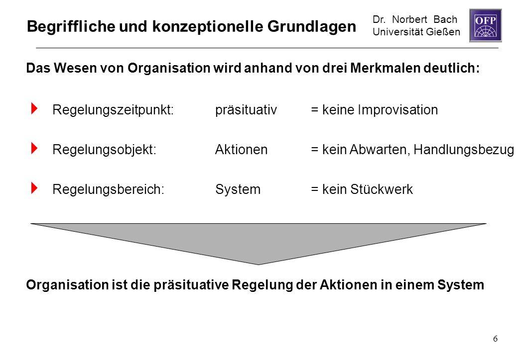 Dr. Norbert Bach Universität Gießen 6 Begriffliche und konzeptionelle Grundlagen Regelungszeitpunkt:präsituativ= keine Improvisation Regelungsobjekt:A