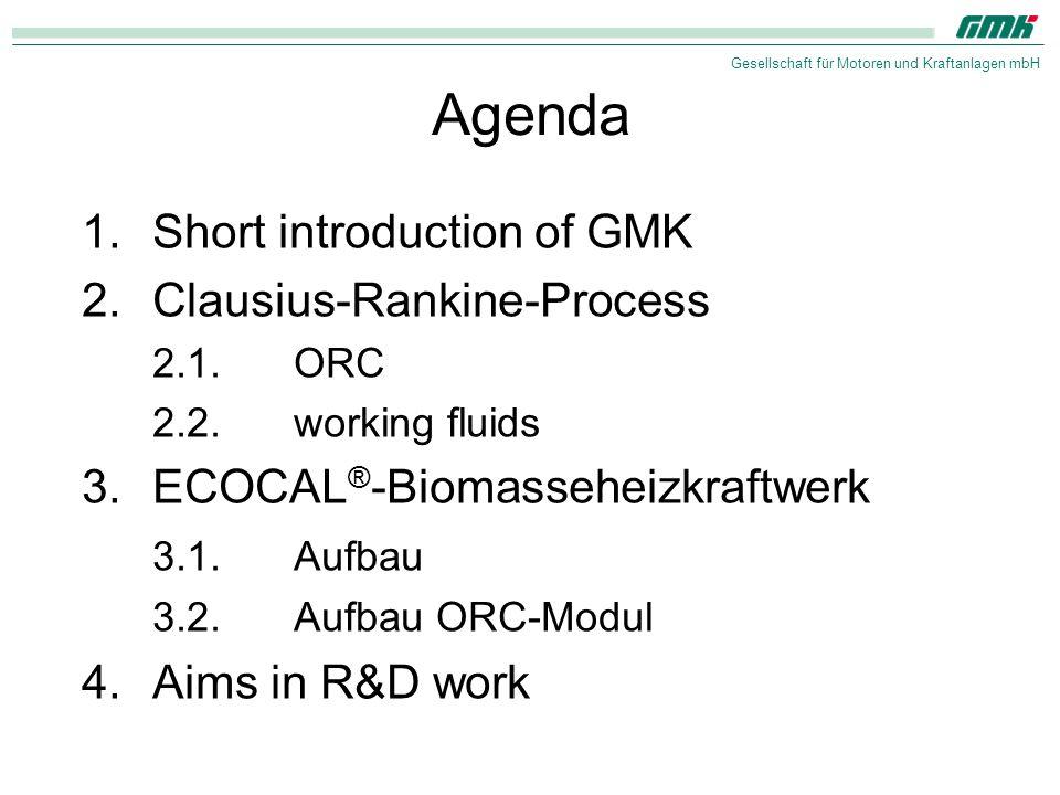Gesellschaft für Motoren und Kraftanlagen mbH Agenda 1.Short introduction of GMK 2.Clausius-Rankine-Process 2.1.ORC 2.2.working fluids 3.ECOCAL ® -Bio