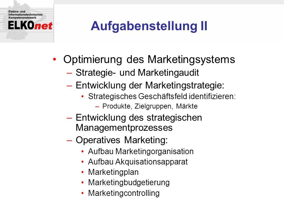Aufgabenstellung II Optimierung des Marketingsystems –Strategie- und Marketingaudit –Entwicklung der Marketingstrategie: Strategisches Geschäftsfeld i